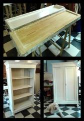 Restauro e laccatura in stile shabby di armadio francese. Trasformazione in dispensa.