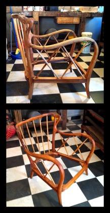 Restauro e lucidatura a gommalacca e cera di coppia di poltrone anni '50. Ricostruzione e integrazione delle parti mancanti.
