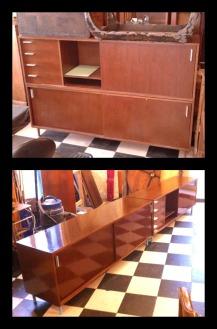Restauro, modifica e lucidatura di mobile da ufficio anni '60.